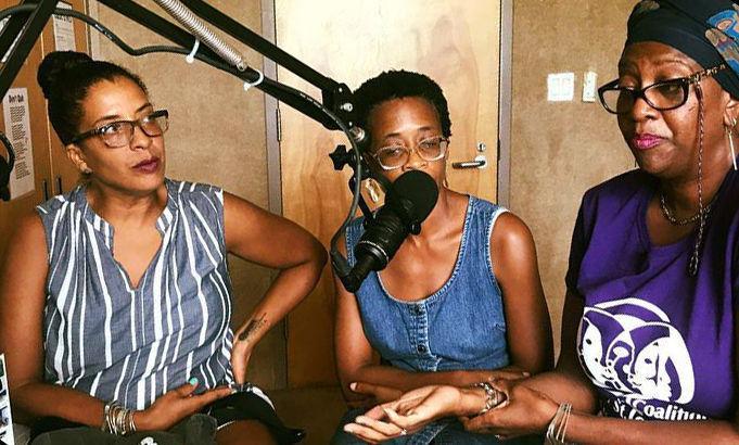 Three women in a radio studio