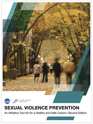 "Cover of NCAA report ""An Athletics Tool Kit for a Healthy and Safe Culture"" 4 students walking on campus with trees"