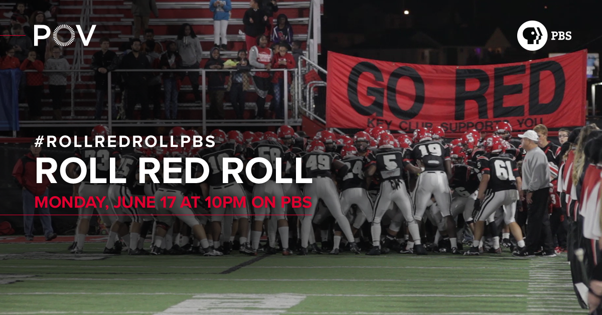 Football players in a huddle #RollRedRollPBS Monday, June 17 at 10 PM on PBS