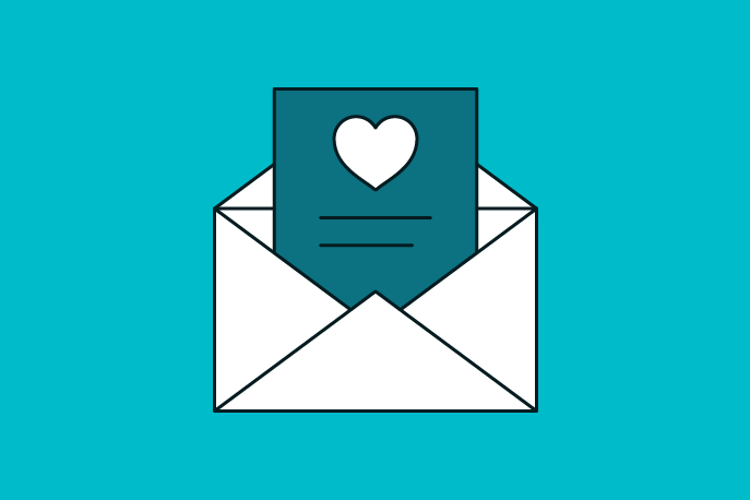 Illustration of a letter with a heart on it coming out of an envelope