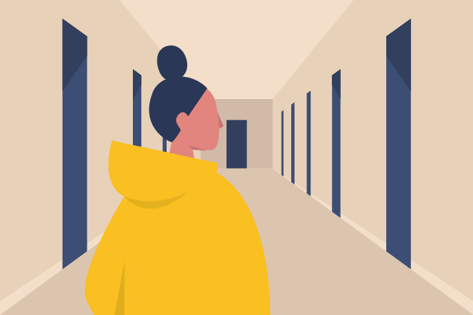 Illustration of a woman looking down a hallway with many doors