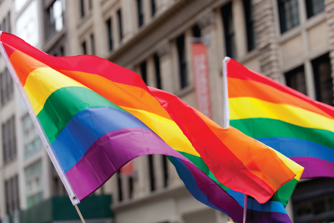 Two rainbow Pride flags