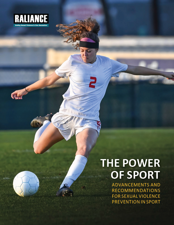 "Cover of ""The Power of Sport"" report. Features a girl playing soccer"