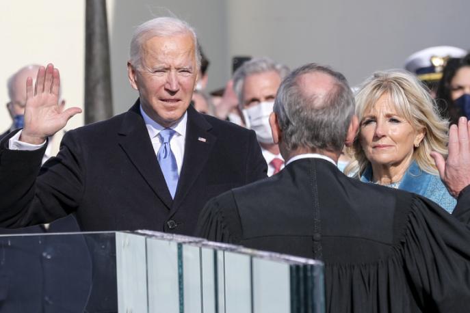 President Joe Biden at his 2021 inauguration