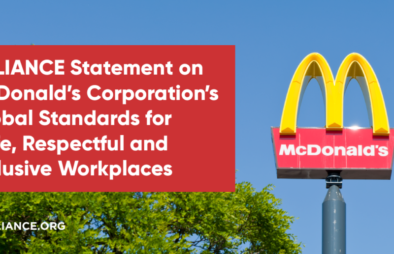 RALIANCE Statement on McDonald's Corporation's Global Standards for Safe, Respectful and Inclusive Workplaces
