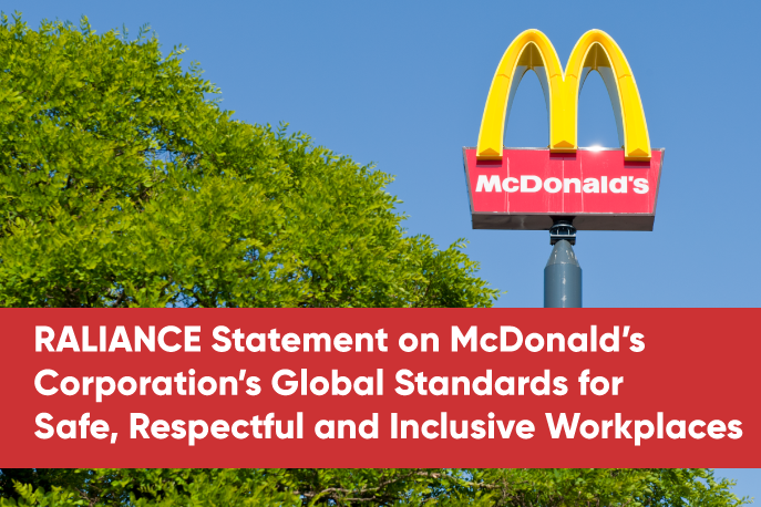RALIANCE statement on McDonald's Corporation's Global Standards for Safe, Respectful, and Inclusive Workplaces