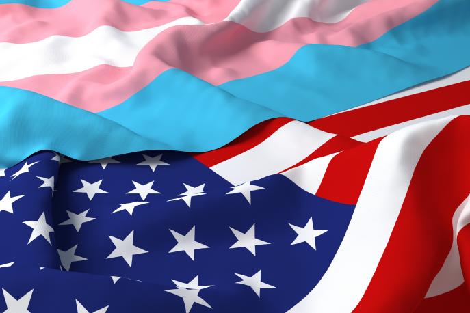 Transgender pride flag next to an American flag