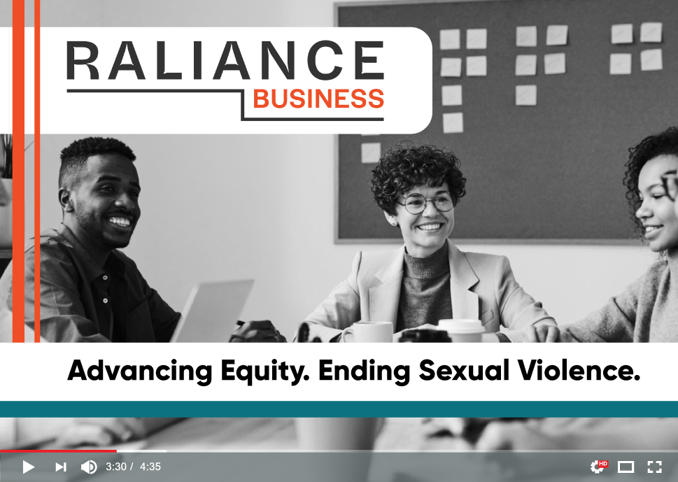 """Screenshot of a video that says """"Advancing Equity. Ending Sexual Violence."""""""
